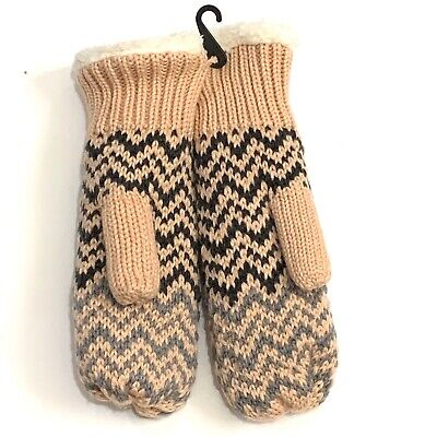 Timberland Womens Cable Knit Mittens Faux Fur Lined CableKnit Mittens Pink Black
