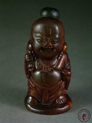 Antique Old Chinese Carved Snuff Bottle Monk w/ Ruyi Auspicious