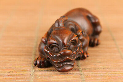 Rare chinese boxwood hand carved dragon figure statue netsuke