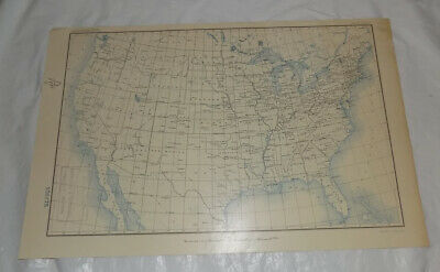 1906 Antique COLOR USGS Map of RIVERS IN THE UNITED STATES