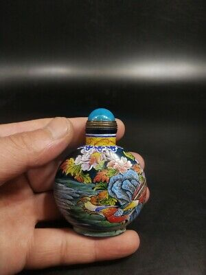 Rare Antique hand-painted pastel peony coloured glaze transparent snuff bottle