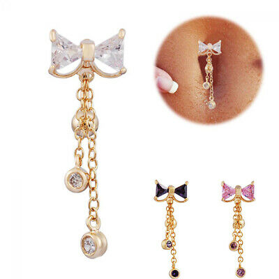 Clear Gold Bow Reverse Bar Body Piercing Dangle Belly Button Navel Ring