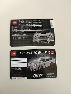 LEGO 10262 Aston Martin Licence to Build card RARE collectors item Free shipping