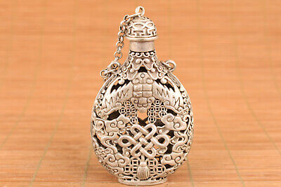 rare chinese old tibet silver hand casting fengshui hollow snuff bottle netsuke
