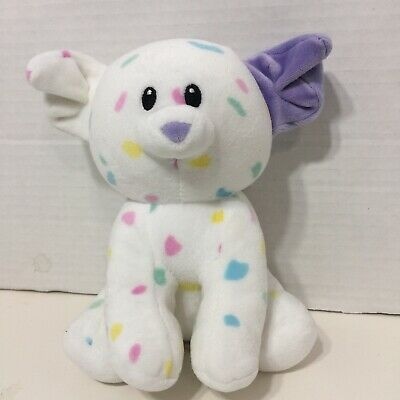"Ty Baby 2017 SPRINKLES the Speckled PUPPY Dog With Purple Ear 7"" Plush"