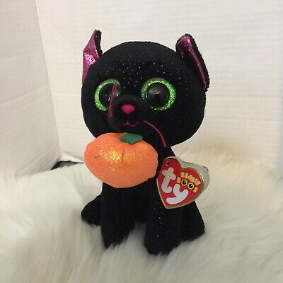 TY Beanie Boos - POTION Cat (6 inch)  Halloween With Pumpkin Black Cat Plush Toy