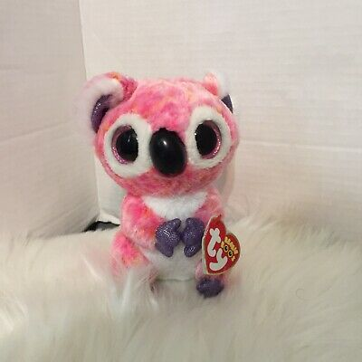 6 Inch Kacey Kola Bear Beanie Boo With Tags Pink with Glitter Eyes