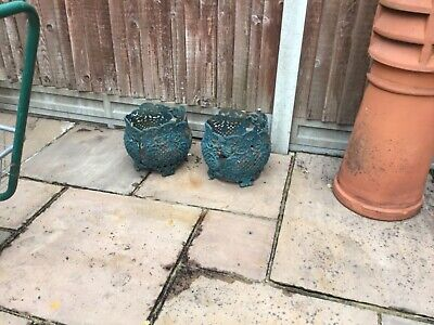 two old heavy victorian flower pot holders cast iron