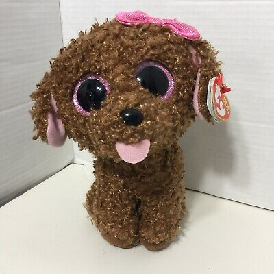 Ty Beanie Boo Maddie 10 With Tags Brown Curly Dog With Pink Bow