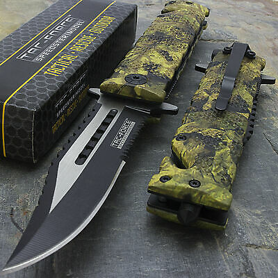"""9"""" TAC FORCE ASSISTED OPEN TACTICAL JUNGLE CAMO FOLDING POCKET KNIFE BLADE New"""