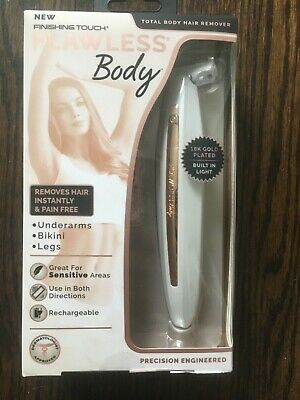 Finishing Touch Flawless Total Body Hair Remover 18K Gold Plated Rechargeable