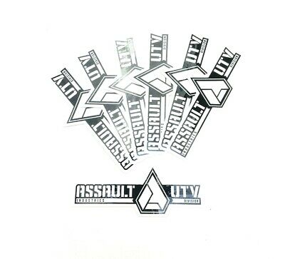 """Lot of 7 Assault Industries UTV Division 5.5/"""" Long Black /& White Decal Stickers"""
