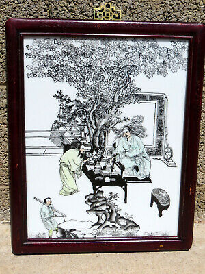 Large Antique Chinese Emperor Hand Painted Framed Wall Hanging Porcelain Tile