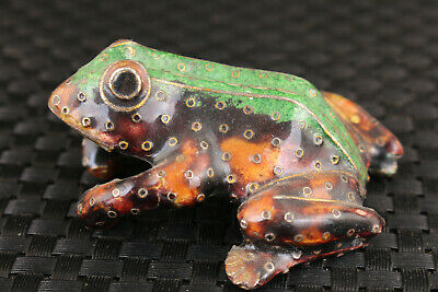 chinese old cloisonne Hand painted frog statue netsuke collectable gift Tea Pot