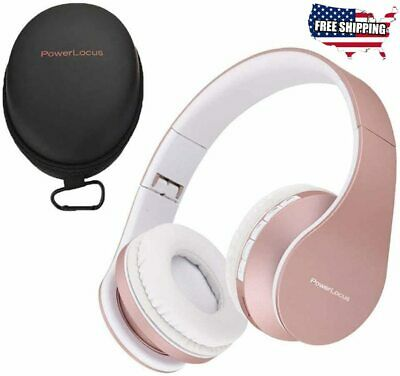 PowerLocus Wireless Bluetooth Over-Ear Stereo Foldable Headphones, (Rose Gold)