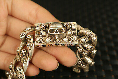 Chinese miao silver tibet silver hand carving skull Statue bracelet cool gift
