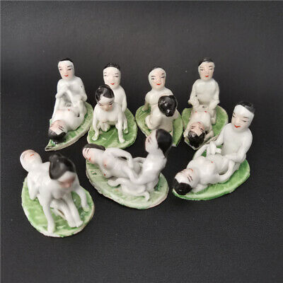 7pcs Collected Rare porcelain handmade carving character statue (Small flaws)