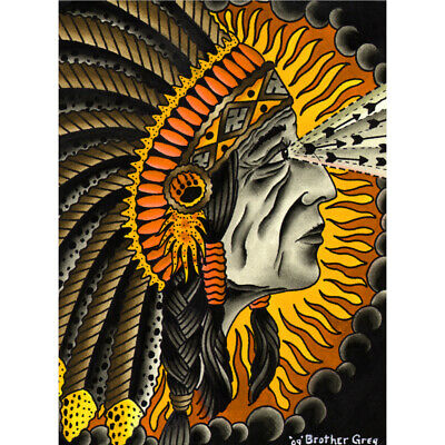 Crazy Horse by Brother Greg Indian Tattoo Unframed Fine Art Print Poster