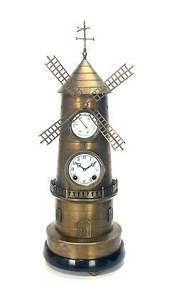 """32"""" Tall Large French Style 8 Day Brass Automaton Windmill Industrial Clock"""