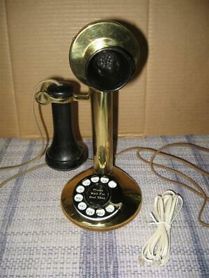 "Heavy Brass Candlestick Telephone With Dial - Selling ""AS IS"" No Returns Working"