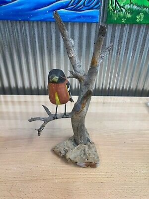 Vintage ~ Wood Carved ~ Bird on Branch  ~ Tall ~ Handmade ~ Montana ~ Grosbeak