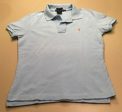 Ralph Lauren Polo Shirt Women's Girls M/M Light Sky Blue Cotton
