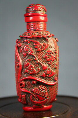 Collectable Rare Precious Coral Carving Delicious & Bees Exquisite Snuff Bottles