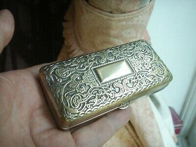 Old Antique Victorian Silver Plated Brass Trinket Jewellery box c.1880 Casket h