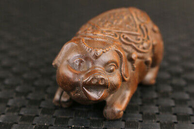 Rare chinese old boxwood hand carved pig lovely figure statue fortune noble gift