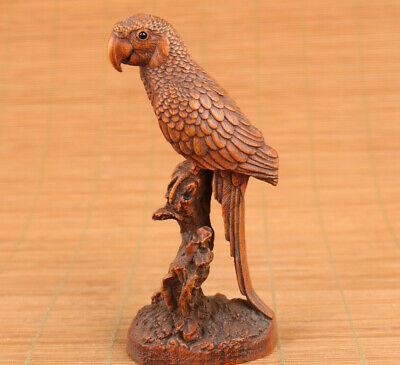 chinese boxwood hand carved parrot figure statue netsuke good stand