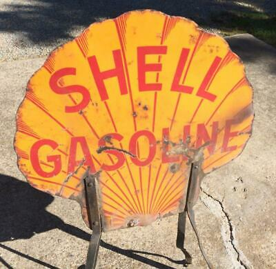 Shell Gasoline Porcelain Sign Bracket Double Sided Clam Shell Oil Automotive