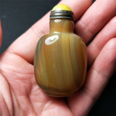 Collectable china ancient old Rare Antique natural agate snuff bottle exquisite