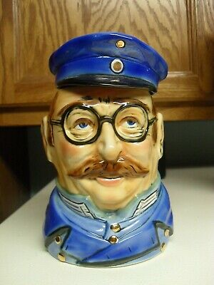 Figural Character Porcelain Beer Stein Stahl E. Bohne And Sohne  Policeman