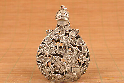 Chinese miao silver handmade cast bird statue snuff bottle collectable