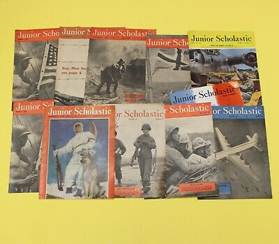 WW2 Junior Scholastic Magazines (x11), 1943 & 1945