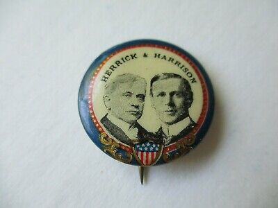 New York Local Governor Pin Back Campaign Button Herrick Harrison 1904 Political