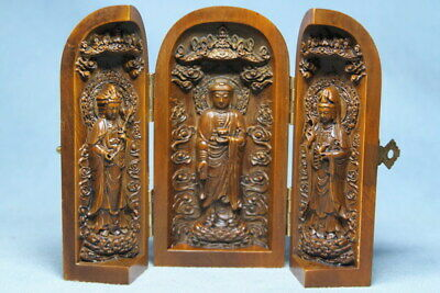Decoration Handwork Boxwood Carving Can Open Three Buddhas Precious Ancient Box