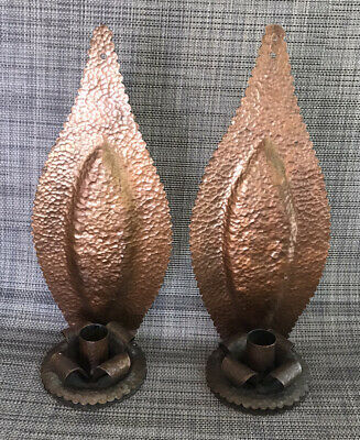 Arts & Crafts Hammered  Copper Arrowhead Candle Holder Sconce Pie Crust Edge