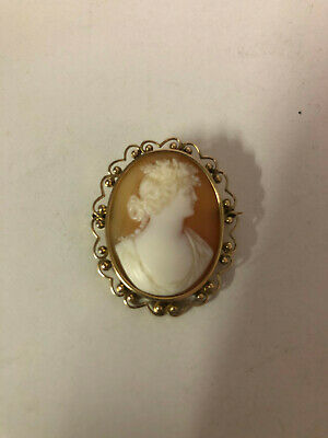 Vintage 13ct yellow Gold Cameo Brooch