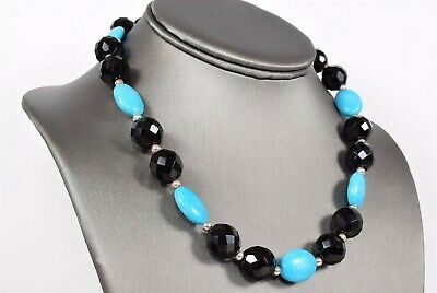 """17"""" NECKLACE Turquoise and Jet"""