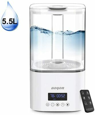 Boyon 5.5L Cool Mist Humidifier, Top Fill Humidifiers for Bedroom Home Baby, Ultrasonic Large Vaporizer with Nightlight Design, Quiet Operation, LED