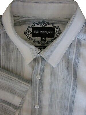 M/&S WHITE Mens Pure Cotton Tailored Fit Long Sleeve Luxury Shirt Size 15 to 17
