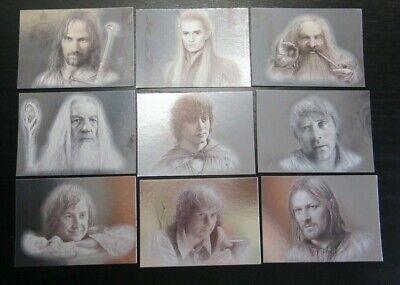 """9 Card /""""Silver Foil/"""" Chase Set 1-9 Lord Of The Rings Masterpieces Series 2 Two"""