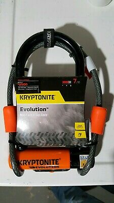 KRYPTONITE EVOLUTION MINI-7 Bike Pocket U lock w// 4 FOOT KRYPTOFLEX CABLE NEW