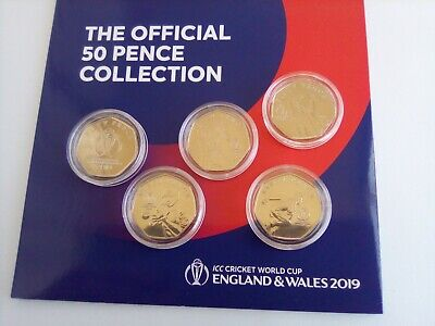 Isle Of Man 2019 ICC Cricket World Cup Set Of 50 Pence B.Unc In Capsules