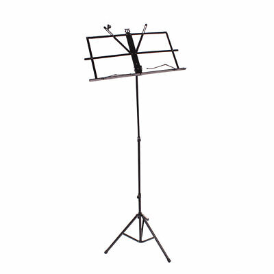 Glarry Portable Adjustable Folding Sheet Music Stand with Carry Bag Black