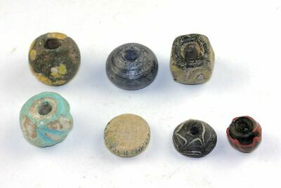 *Sc*7 Ancient Large Roman To Islamic Built Glass Beads Or Hangers!