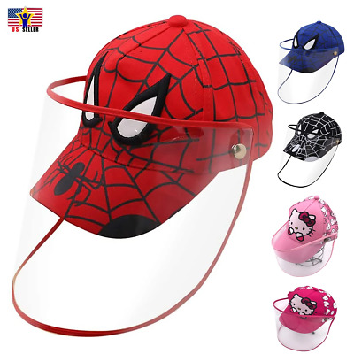Protective Baseball Kid Child Kitty Spiderman Cap Hat Detachable Shield Spit