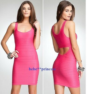 NEW bebe P/S XS S coral pink textured back cutout shine bodycon skirt top dress