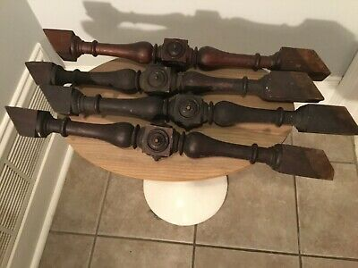 4 Antique Walnut Bullseye Stair Spindles or Balusters